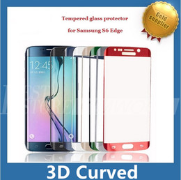 Wholesale Wholesale Chrome Plating - S6 Edge S6 Edge Plus Full Cover Curved Side Tempered Glass Screen Protector Plating Chrome 7 Colors 0.2MM 9H With Retail Package