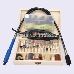 Wholesale Carved Jade Accessories - 220V DREMEL Mini Electric Grinding Drill for Carving Jade with 100pcs Wooden box Accessories + 1pc Shaft + 30pcs Needle Box order<$18no trac