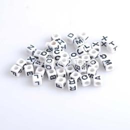Wholesale Wholesale Pony Bead - Wholesale-hot- White 7mm, 200Pcs Mixed Letter  Alphabet Cube Acrylic Pony Beads Fit Jewelry making YL1002