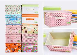 Wholesale cloth organizer box - 2016 New underwear Non-woven Folding storage box , Oxford cloth socks bra storage covered sorting box storage box