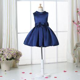 Wholesale Purple Dress Girl Age - Navy Blue Flower Girl Dresses For Weddings Elegant Knee Length Crew Neckline Cap Sleeve Custom Kids Formal Wear Elastic Satin Dress 3-14 Age