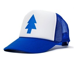 Wholesale Gravity Accessories - Wholesale-gravity falls hat Dippers Blue Pine Tree Unisex-Adult Trucker Hat 20pcs lot dipper gravity falls cartoon hat