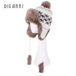 Wholesale Fur Ushanka - Wholesale- Difanni Winter Women Warm Bomber Hat Russian Ushanka Knit Pom Pom Union Flag Trapper Aviator Hats Fox Fur Earflaps Snow Caps