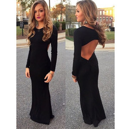 Wholesale Evening Dresses For Teens - 2016 Simple Black Mermaid Prom Dresses Sexy Open Back Long Sleeves Dress For Teens Evening Gowns