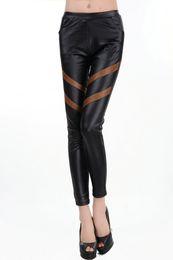 Wholesale Cheap Leggings Plus Size Women - Drop Shipping PU leggings Girls Sale Pockets Elastic Imitation Leather Pants Cheap women leggings plus size faux leather FG1510
