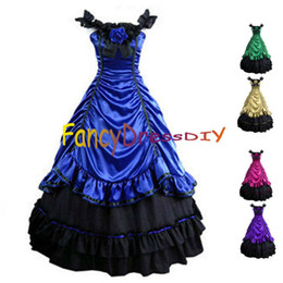 Wholesale Halloween Costumes For Womens - Wholesale-2015 Womens Gothic Lolita Victorian Southern Belle Gowns Halloween Costumes for Women Adult Princess Dress Customized V086