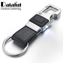 Wholesale Leather Cross Keychain - beijia Custom Lettering Keychain LED Lights Lamp Beer Opener Bottle Multifunctional Leather Men Car Key Chain Ring Holder K355