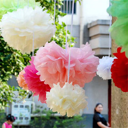 Wholesale Wholesale Tissue Flowers - Hot ! 50pcs Tissue Paper Pom Poms Paper Flowers Ball for Wedding Decorations Christmas Birthday Party 6 8 10 12 14 inches Multi-colors