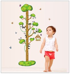 Wholesale free wallpaper designs - 50--170cm Tree Panda Wall Stickers DIY Kids Height Chart Wallpaper Baby Room Quality SGS Removable PVC Free Ship