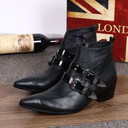 Wholesale Cowboy Sexy Man - Genuine Leather Formal Italian Stylish Ankle Boots Men's Cowboy Shoes Men's Height Increased High Heel Fashion Sexy boots