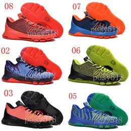 Wholesale Cheap Kd V Shoes - 2015 New KD8 Hunt's Hill Sunrise Wholesale KD 8 VIII Bright Crimson V-8 Cheap Mens Basketball Shoes Men Sport Sneakers V8 Kds size 7 ~12