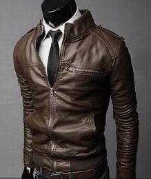 Wholesale Men S White Leather Coat - Men's foreign trade wholesale motorcycle leather men's 2015 Winter new Korean Slim men's leather jacket leather jacket coat .@s199