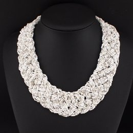 Wholesale Weaved Necklaces - Multi Beads String Weave Chunky Chain Bib Chokers Collar Statement Necklaces New Fashion Necklaces For Women 2015 N2694