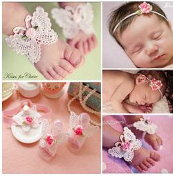 Wholesale Butterfly Flower Rose Heart - Wholesale Baby Foot Flower Headbands Three Piece Sets Rose Flower Hollow Butterfly Love Heart Photo Decoration 20set