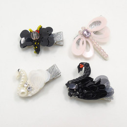 Wholesale dragonfly hair - 20pc  Lot Sequin Dragonfly Girl Hair Clip Simulated Pearl Crystal Animal Barrette Black White Glitter Silver Hairpin Novelty Grip