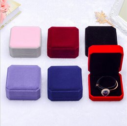 Wholesale Square Shape Watches - HOT style Velvet bracelet Box, watch box, bangle box, square shape Velveteen Display Box sold per bag of 10 pcs