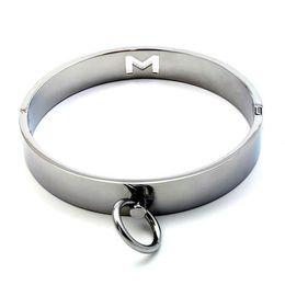 Wholesale Slave Collared Women Metal - Fetish Locking BDSM Slave Neck Collars Restraints Gear Metal Slave Bondage Collar with O-ring Pleasure Sex Toys for Women MJSM386