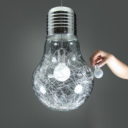 Wholesale Glass Aluminum Wire Ball - Stylish Big Bulb Dining Room Pendant Lamp New Modern Aluminum Wire Inside Glass ball Bar Counter Pendant Light Fixture Restaurant Lamps