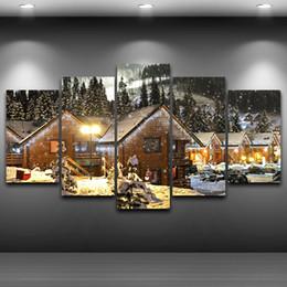Grandi quadri ad albero online-Christmas Tree Night Paintings LARGE 60x32 pollici 5Panels Art Canvas Print Snow House Albero di Natale Night Poster Wall Home Decor inte