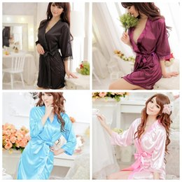 Wholesale cheap sleepwear - Cheap Sex Women's Underwear Female Sexy Sleepwear Sexy Robe Sets 5 Color Solid Lace Piping Ladies Open Front Sex Lingerie Sets Hot Sale