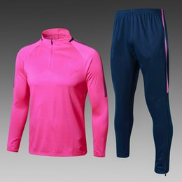 Wholesale Mens Sports Wear Clothing - ^_^ Wholesale soccer tracksuit madrid pink top AAA quality long sleeve Training suit football training clothes sports wear mens Sweater