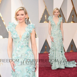 Accademia riconosce i vestiti online-88 ° Academy Awards 2019 Oscar Cate Blanchett Florals scollo a V Abiti celebrità Guaina abiti da sera lunghi da ballo
