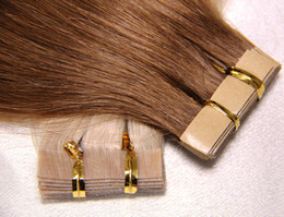Wholesale Tape Weft Light Brown Extensions - Valentine's Gift! Top Brazilian tape in hair extensions Staight Peruvian malaysian indian remy human hair PU Skin Weft Tape Hair 2.5g pc