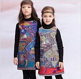 Wholesale Monsoon Children - High Quality 2016 New Arrival Wl Monsoon Kids Clothes Baby Girl Princess Dresses Children Clothing Girls Floral Printed Vest Dress 7pcs lot