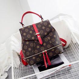 Wholesale Korean Boys Fashion Style - New Arrival Hot Fashion Women Genuine Leather Backpack 2017 Euramerican Fashion Barrel-Shaped Plaid PVC Bag Designers Brand Free Shipping