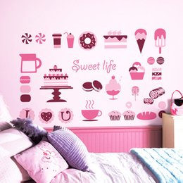 Wholesale Cake Cup Pink - Cup Cake Coffee Wall Art Mural Glass Window Showcase Decoration Sticker Dessert Wallpaper Decor Poster for Coffee Shop Bakery Dessert House