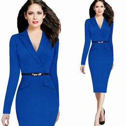 Wholesale Women Career Wear - Wholesale Hot Career New 2015 Fashion Autumn Winter Dress Suit Collar Elegant Pencil Dresses OL Business Work Long Sleeve Women Dress