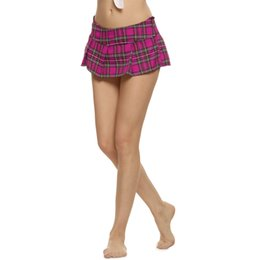 Wholesale Sexy Plaid Mini Skirt - Brand Women Fashion Sexy Lady Schoolgirl Cosplay Sleepwear Plaid Night Super Mini Pleated Skirt