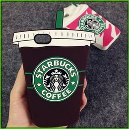 Wholesale Durable Mobile Phone Case - 2015 3D Cartoon For Apple IPhone 4 4s 5 5s 6 Plus Cell Phone Cases Silicon Starbuck Coffee Cup Durable Mobile Phones Case