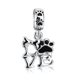 Wholesale 925 Silver Letters - Wholesale Fashion Beautiful LOVE Pendant Charm 925 Sterling Silver European Charm Beads Fit Pandora Bracelets Snake Chain DIY Jewelry