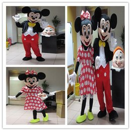 Wholesale Mouse Custom - Wholesale - In-stock 2Pcs Couple Mickey & Minne Mouse Cartoon Mascot Costume school mascots character Men's costumes for guys fast ship