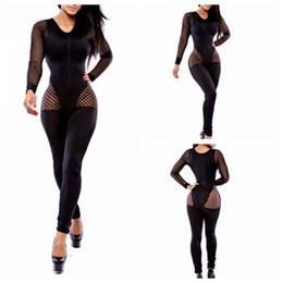 Wholesale Sexy Fishnet Bodysuit - New Women Fashion Sexy Black Fishnet Lace Inset Long Sleeves Celeb Inspired Jumpsuit Bodysuit Bandage Clubwear
