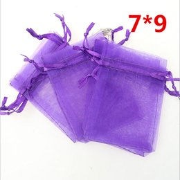 Wholesale Purple Organza Candy Bags - Wholesale- Free Shipping,100pcs Wholesale Drawable Organza Bags 7x9 cm,Deep Purple Color Gift Bags,Wedding Jewelry Pouches,Small Candy Bags