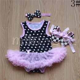 Wholesale Wholesale Children Dress Shoes - 2015 Christmas Girl Dress Baby Suit Children Clothes Kids Clothing Girls Headbands Summer Lace Rompers Baby Shoes Children Set Kids CH-8821