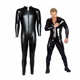 Wholesale Temptation Male - Male Leather Bodysuit Men Sexy Full Body Dress Uniform Zipper PVC Outfit Faux Leather Rubber Gay Costume B0402020