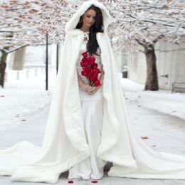 Wholesale Cheap Faux Fur Jackets Women - Elegant Cheap 2015 Warm Bridal Cape ivory White Winter Fur Coat Women Wedding bolero Jacket Bridal Cloaks Wedding Coat bridal winter coat