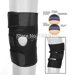 Wholesale Open Knee Patella Support - Black Adjustable Neoprene Gel Open Cap Patella Knee Support Pad Strap Brace Stabilizer Health Care gym knee straps order<$18no track