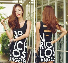 Wholesale Clothes Low Cut Sexy - 2016 Sexy Night Club Dress Women Clothes Fashion Summer Low Cut Sleeveless Halter Vest Miniskirt Printing Letter Tight Dresses for Womens