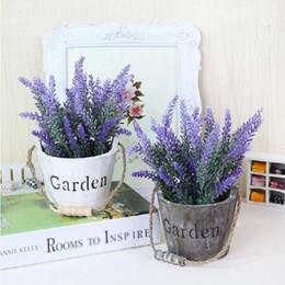 Wholesale Decor For Displays - 1pc lot Artificial Lavender Silk Flower Bouquet Wedding Home Party Decor for Display Flower with Cask Flower pot set