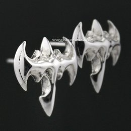 Pendientes de batman online-Sólido 925 Sterling Silver Bat BATMAN Mens Biker Rocker Stud Earring 8M012