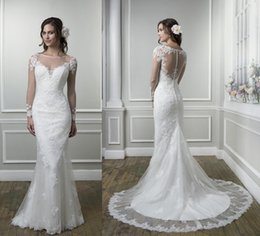 Wholesale Justin Wedding Dresses - Elegant Lace Mermaid Wedding Dresses Justin Alexander 2016 Sheer Bateau Neck Ivory Long Sleeves Appliques Beads Long Sexy Bridal Gowns Hot