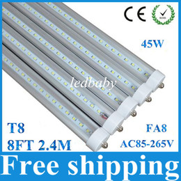 Wholesale Led Tube Lights Base - T8 LED Tube Lights 8ft 2.4m 25pcs lot 45W 4800LM SMD2835 Single Pin FA8 G13 Base AC85-265V FCC UL Certificates 2years Warranty