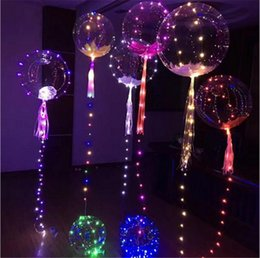 Wholesale Helium Toy Balloon Wholesale - LED balloons Night Light Up Toys clear balloon 3M String Lights Flasher transparent wave balls Lighting Helium Balloons Christmas Decoration