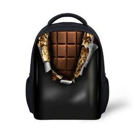 Wholesale Kids Novelty Backpacks - Novelty Fashion Chocolate Printing Mini Backpacks For Children Kindergarten Kids Favorite School Bags Gifts Mochilas Infantiles