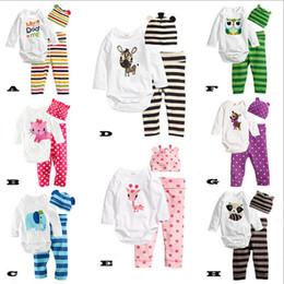 Wholesale Owl Baby Pants - 2017 Autumn 3Pcs Long-sleeved Romper+Hat+Pants Baby Clothing Set Cartoon Owl Mice Baby Girls Suit Infant Jumpsuits Costume Wears