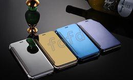 Fashion Mirror Chrome trasparente trasparente vista portafoglio in pelle di vibrazione del telefono per iphone 6 7 8 più Samsung S6 7 8 9 bordo più 50 pezzi da cassa del portafoglio fornitori